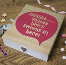 Wooden Retro Sweet Box - 'SSSHHH'